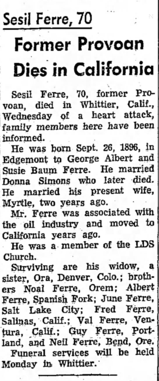 28 October 1962 - Sesil Ferre, 70 Former Provoan Dies in...