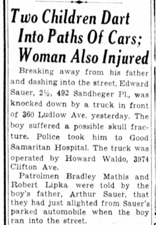 6 Sep 1946 Eddie Sauer suffers possible skull fracture. - Two Children Dart Into Paths Of Cars; Woman...
