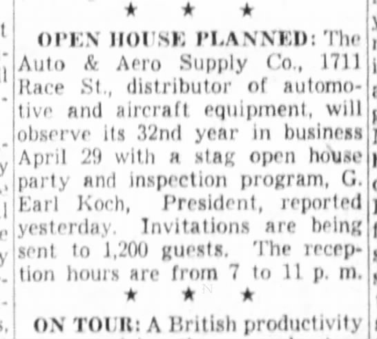 1952-04-11 Koch A&Aero 32 yrs - OPEN HOUSE PLANNED: The Auto & Aero Supply Co.,...