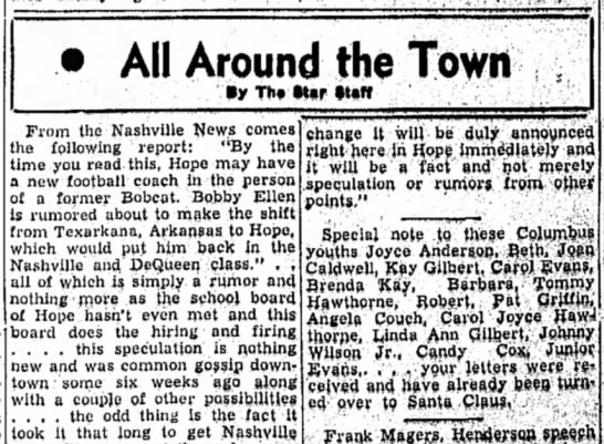 Hope Star 7 Dec 1954 p1 Tommy Hawthorne letter to Santa Claus - All Around the Town •y Th« »Uff From the...