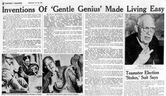 Charles F. Kettering inventions - r 4 CINCINNATI ENQUIRER WMlrmdiy, Nov, it, INI...