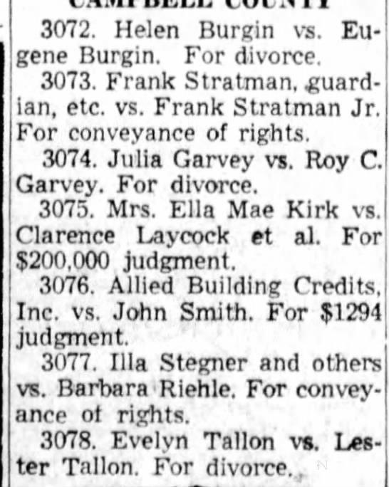 Julia Garvey divorce 1958 - 3072. Helen Burgin vs. Eu gene Burgin. For...