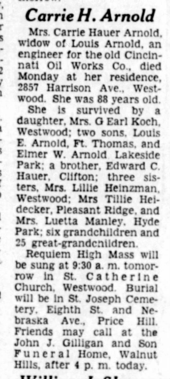 1960-09-14 Arnold, Carrie nee Hauer obit - Bethes-da Carrie H, Arnold Mrs. Carrie Hauer...