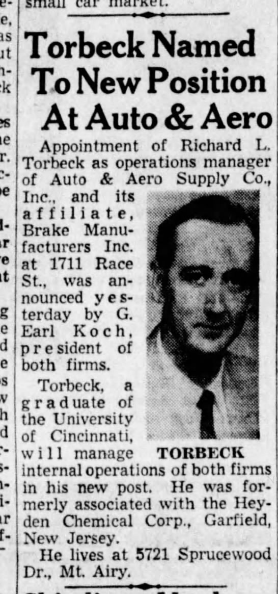 1957-09-01 Torbeck appointed operations mgr at Auto and Aero - much-imitated venti-ports car Torbeck Named To...