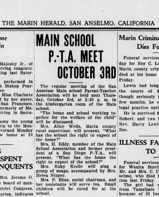 Alice Brewer Wells, Marin County, Rural Schools Supervisor: 1935. - THE MARIN HERALD, SAN ANSELMO, CALIFORNIA in...