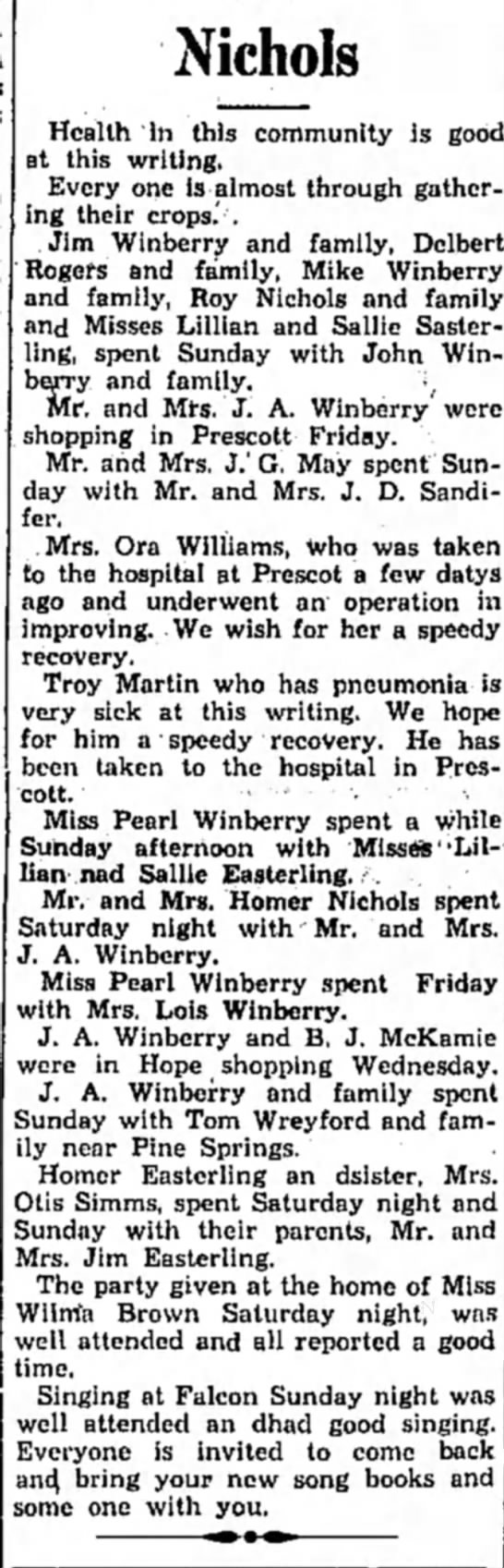 Winberry HS 12 Nov 1931 p3  - Nichols Health 'In this communily is good at...