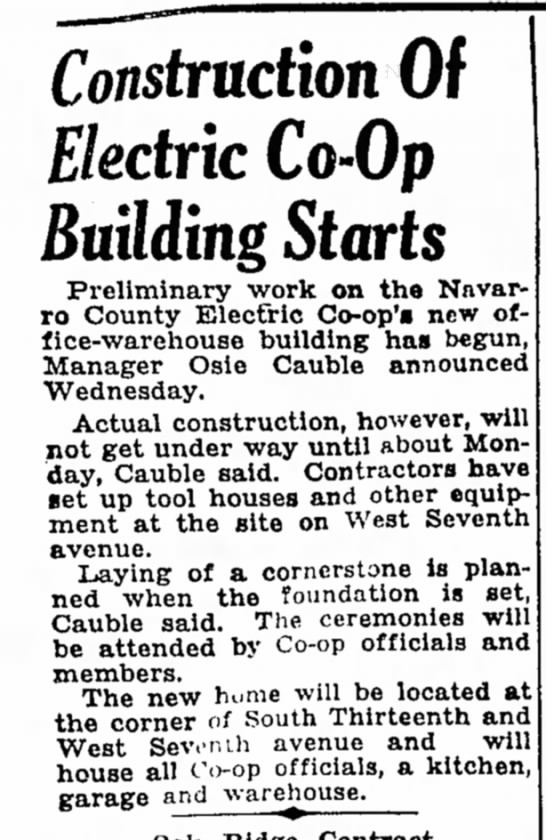 Osie Cauble 1949 - Construction Of Electric Co-Op Building Starts...