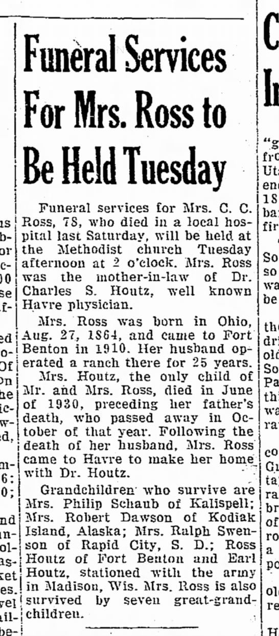 sept 7 1942 havre - Funeral Services For Mrs. Ross to Be Held...