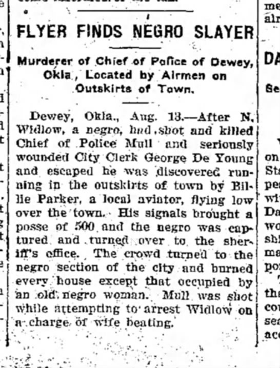 Daily Free Press 13 aug 1918 negro wife beating  - FLYER FINDS NEGRO SLAYER Murderer of .Chief of...