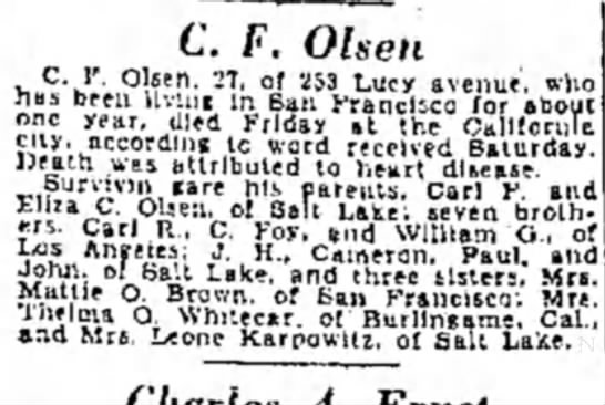 "Mark C Olsen Obituary 30 Jan 1931 - C. F. Olsen C. I"". Olsen. -J7. of 253 Lucy..."