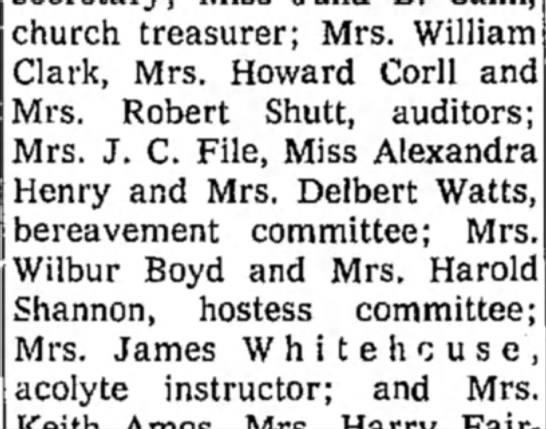 Shutt, Mrs Robert - church treasurer; Mrs. William Clark, Mrs....