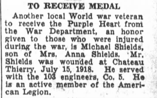 Michael Shields 1932 - TO RECEIVE MEDAL Another local World war...