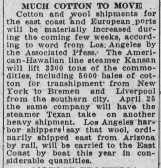 Kansan cotton to Europe 1930 - , MUCH COTTON TO MOVE . Cotton and wool...