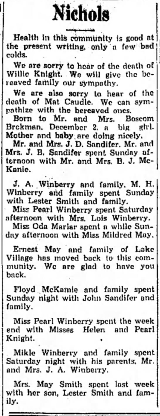 Winberry HS 23 Dec 1931 p2 - Nichols Health in this community is good at the...