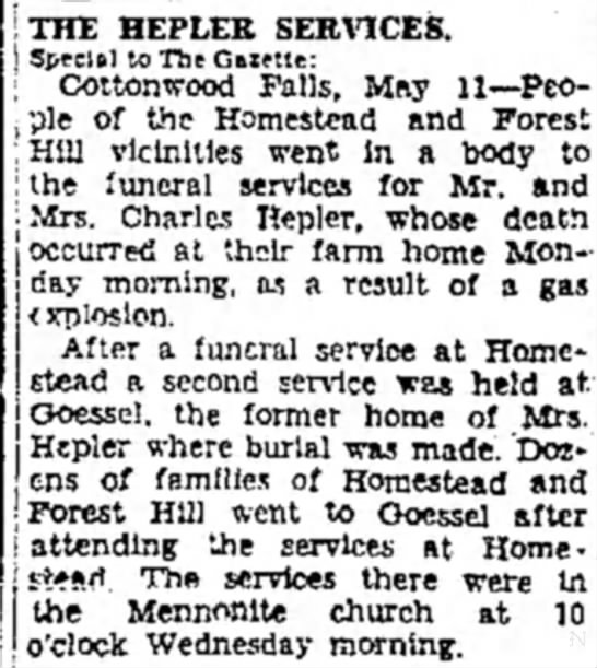 Charles Hepler death fire 1942 - THE HEPLEE SERVICES. Special to The Gfttette:...