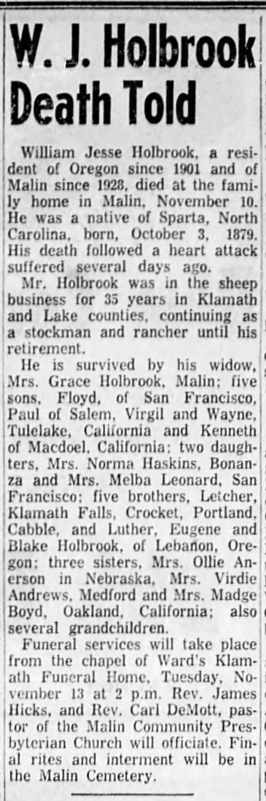 William Jesse Holbrook OBITUARY 1956 - W. J. Holbrook Death Told I William Jesse...