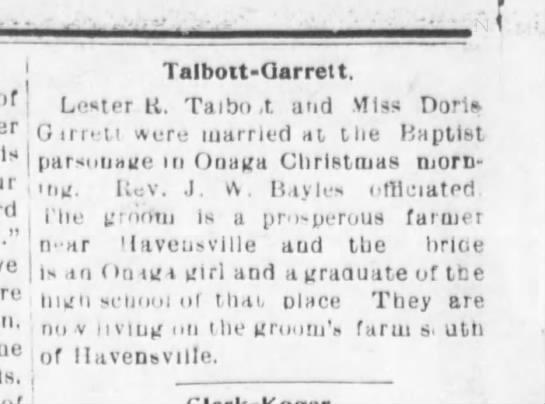 Talbott-Garrett marriage