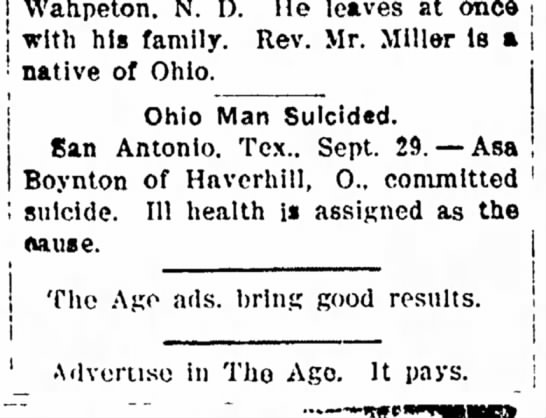 1903 Asa Boynton commits suicide; Coshocton Daily Age 9/29/1903 - j The | tive of Ohio' remain Wahpeton. N. D. He...