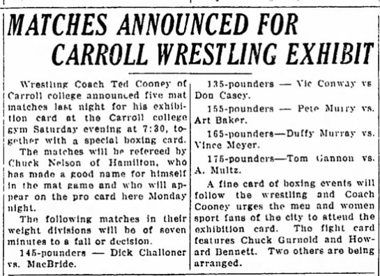 - MATCHES ANNOUNCED FOR CARROLL WRESTLING EXHIBIT...