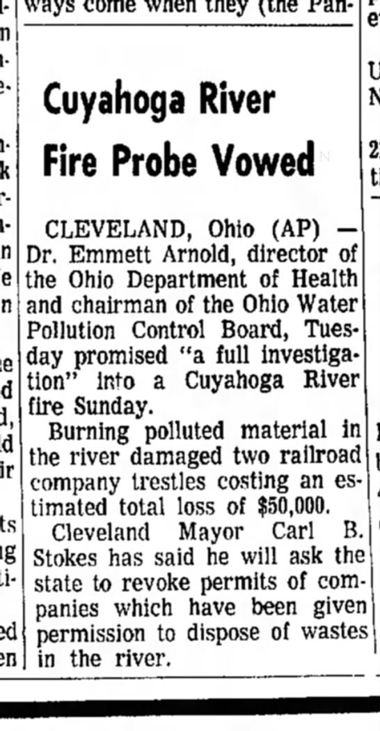 daily reporter - Cuyahoga River Fire Probe Vowed CLEVELAND, Ohio...