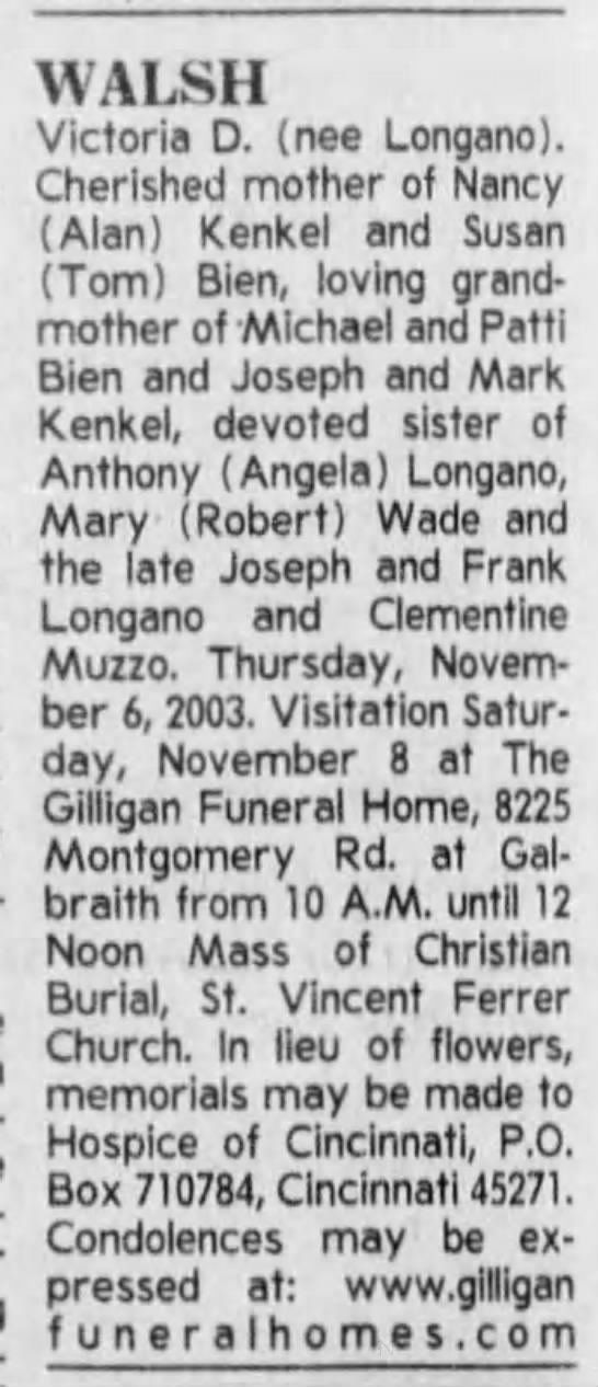 Victoria D. Longano (Walsh) Obituary - WALSH Victoria D. (nee Longano). Cherished...