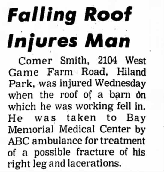 comer smith - Falling Roof Injures Man Comer Smith, 2104 West...
