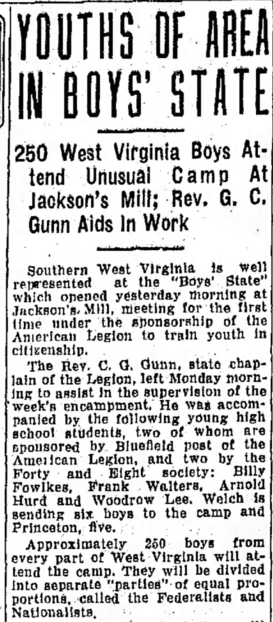 - YOUTHS OF AREA IN BOJfTSTnTE 250 West Virginia...