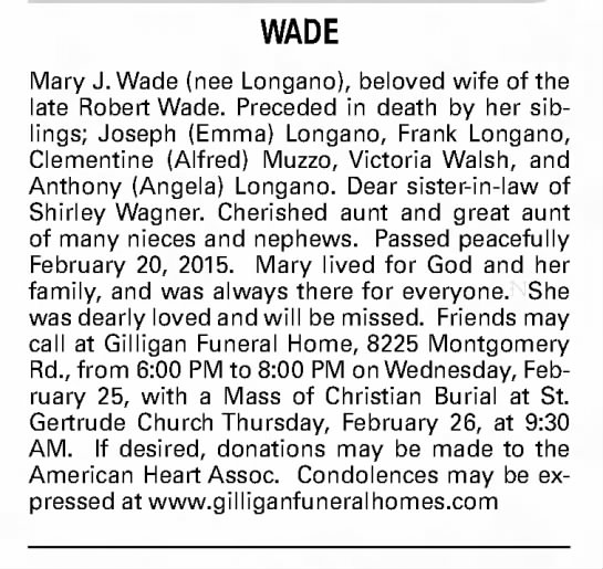 Mary Wade (Longano) Obituary - MaryJ.Wade(neeLongano),belovedwifeofthe...