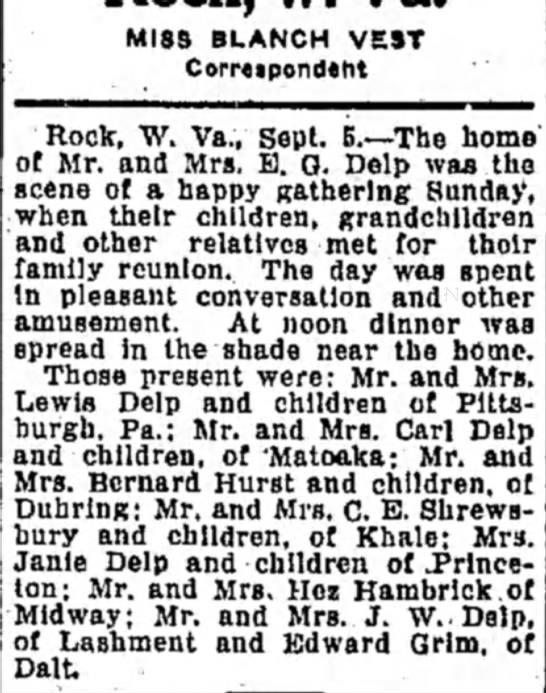 Bluefield Daily Telegraph 9/6/1936 - MISS BLANCH VEST Correipondtht Rock, W. Va.,...