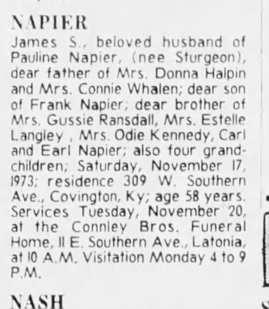Another father for Connie napier? - NAPIER James S , beloved husband of Pauline...