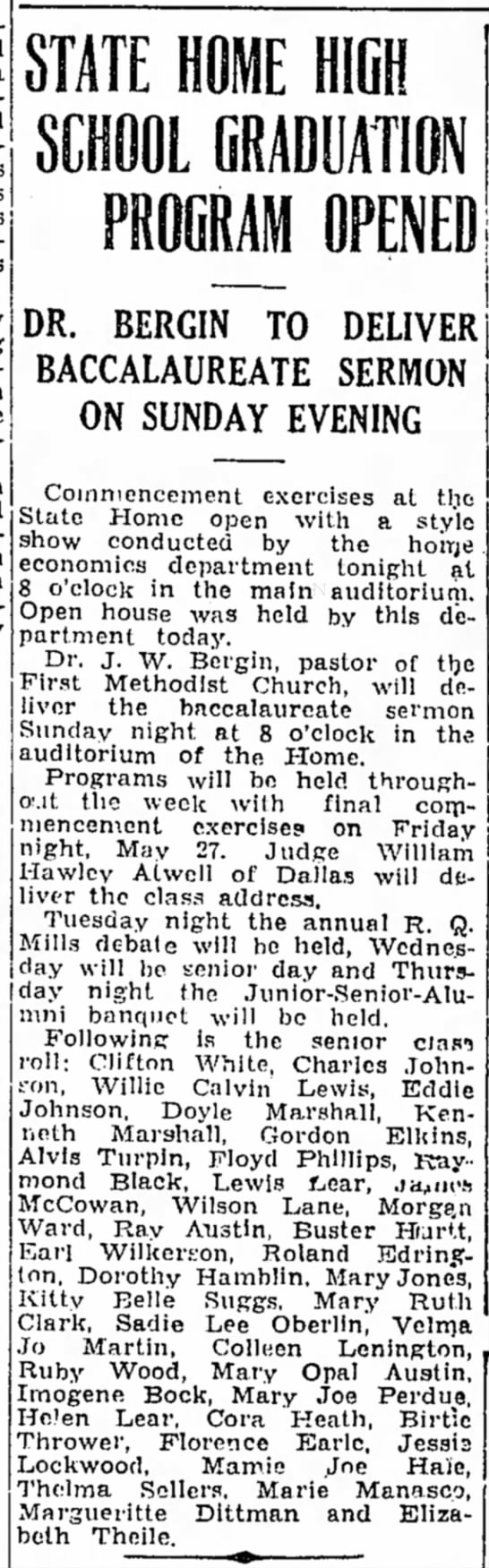Marie Manasco  May 20, 1932   Commencement - STATE HOME HIGH PROGRAM OPENED DR. BERGIN TO...