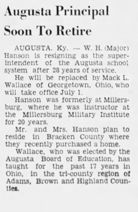 March 27 1972 - Augusta Principal Soon To Retire AUGUSTA. Ky....