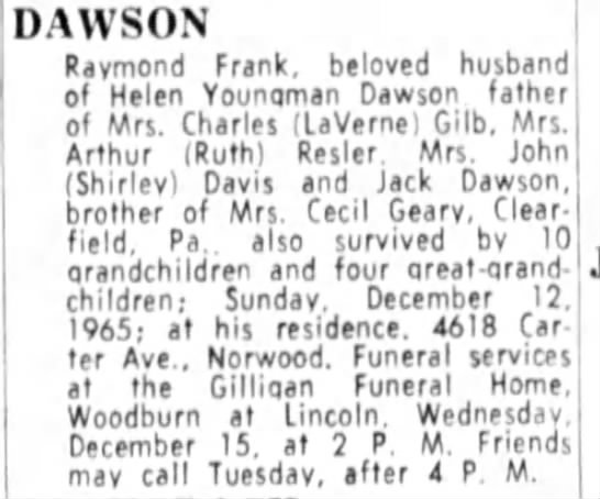 Jack Dawson father  Mark's grandfather? - DAWSON Raymond Frank, beloved husband of Helen...