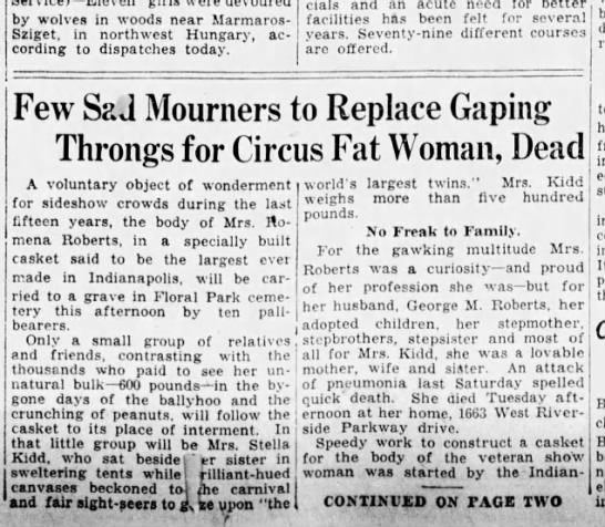 05Jan1928 Circus fat women mourned Mrs Kidd and Mrs Roberts twins and other gruesome stories - by wolves in woods near Marmaros-Sziget,...