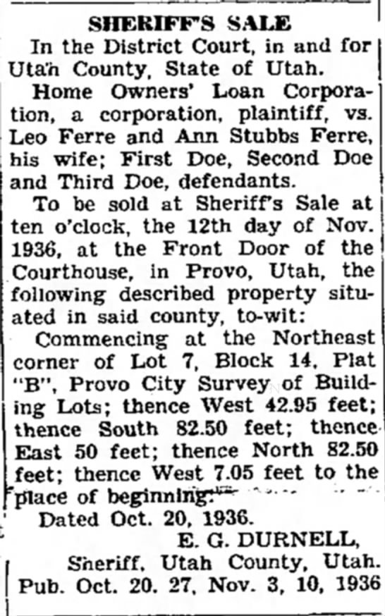 27 October 1936 - SHERIFF'S SALE In the District Court, in and...