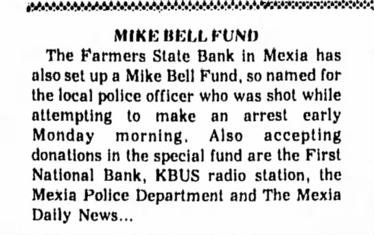 Dad - MIKE BELL FUND The Farmers Stale Bank in Mexia...