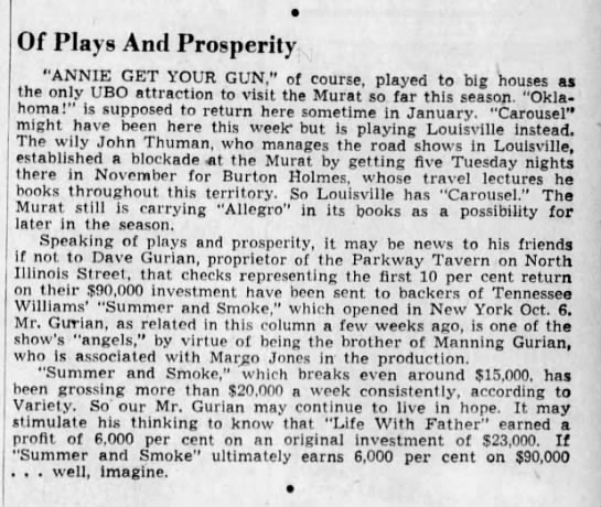 "Summer and Smoke Financials, The Indianapolis Star, 21 Nov 1948 - Of Plays And Prosperity ""ANNIE GET YOUR GUN,""..."