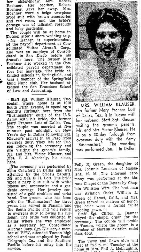 "Mary Frances Lott m William Klauser Announcement - her ""sister-in-law, Mrs. Robert Boehner. Her..."