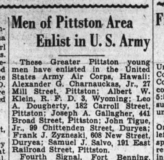 FRITZ ZYZNESKI - Bingham-ton, , at Men of Pittston Area - Enlist...