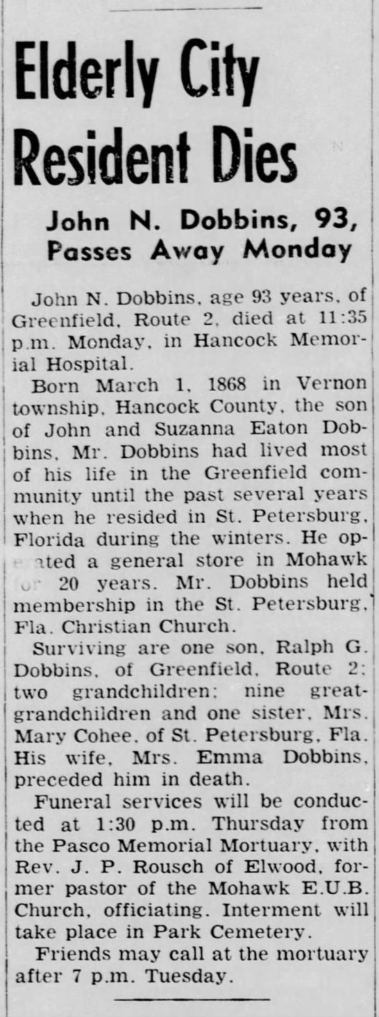 john n dobbins - Elderly City Resident Dies John N. Dobbins, 93,...