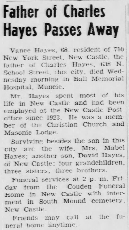 Vance Hayes dies Greenfield Reporter 4 jul 1963 - Father of Charles Hayes Passes Away Vance...