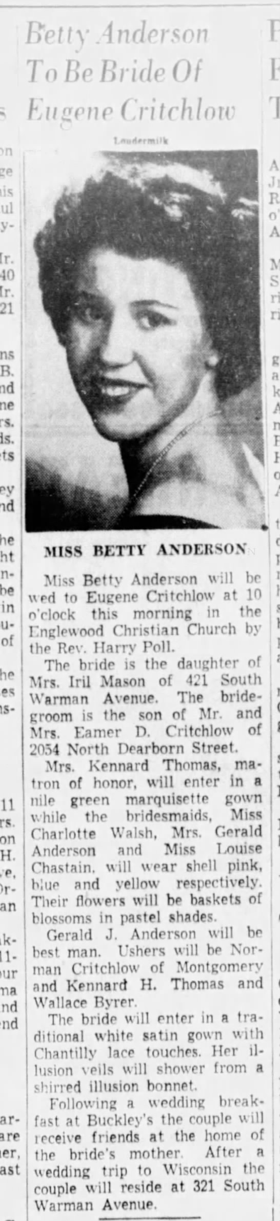 Eugene Critchlow and Betty Anderson Wedding - lctlx Andcnou To V llridr Of Euiscnc...
