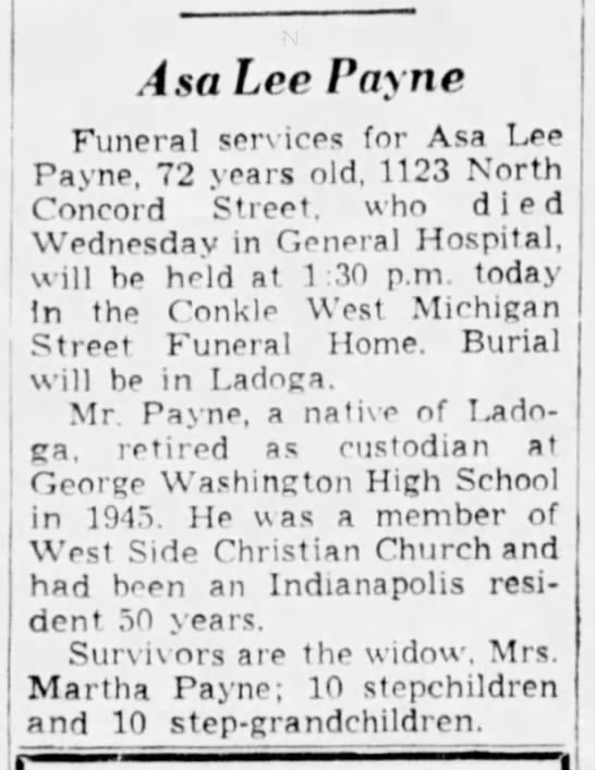 Asa Lee Payne Dead, 20 May 1953. - Asa Lee Payne Funeral services for Asa Lee...