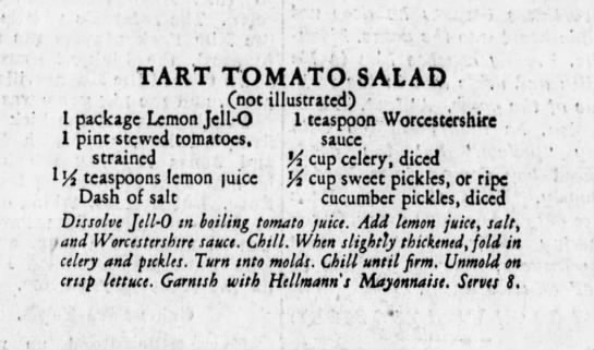 Tart Tomato Salad recipe - TART TOMATO SALAD ) . (not illustrated) , I...