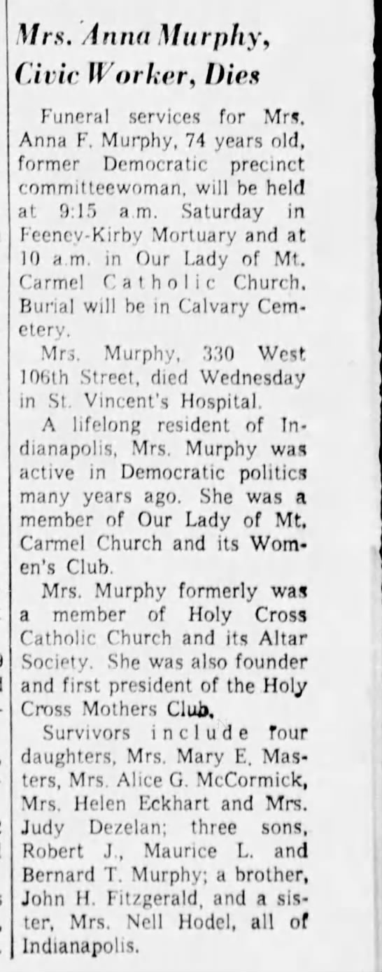Anna Murphy Obituary 1963 - Mrs. Anna Murphy, Civic Worker, Dies Funeral...