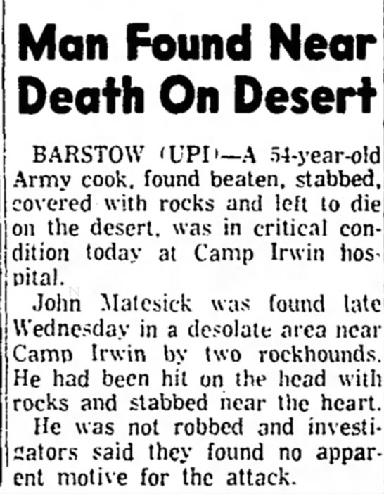 - Man Found Near Death On Desert BARSTOW 'UPIi -A...
