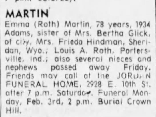 emma roth - MARTIN Emma (Roth) Marlin, 70 years, 1934...