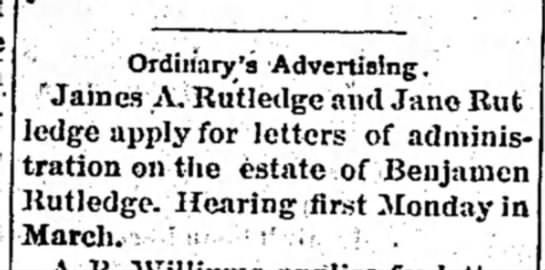 - Ordii/ary 'a Advertising. ' James A. Rutledge...
