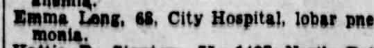 Emma Aldridge Death Dec 1934 - Emma Long, si, City Hospital, lobar pneumonia.