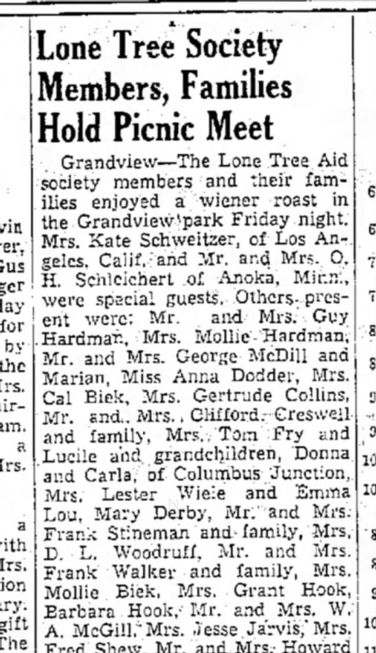 1938 (13) Wapello Muscatine News Tribune 10.3.1938 - for by the a a gift : S Lone Tree Society...